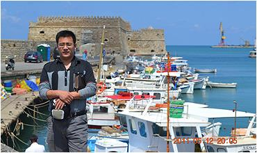 Huang is always on customer visits in Crete, Greece